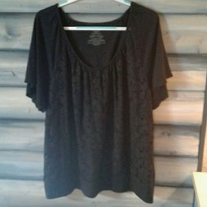 Black lace short sleeve blouse